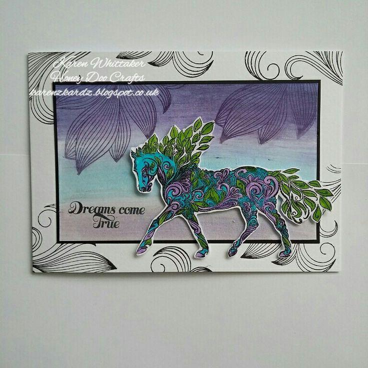 Majestic Mare and Fancy Flourish stamps from Honey Doo Crafts  #honeydoocrafts #dtsample #majesticmare #fancyflourish #micapowders #stamps #cards #craft #creative #ilovetocraft #creativity #karenzkardz