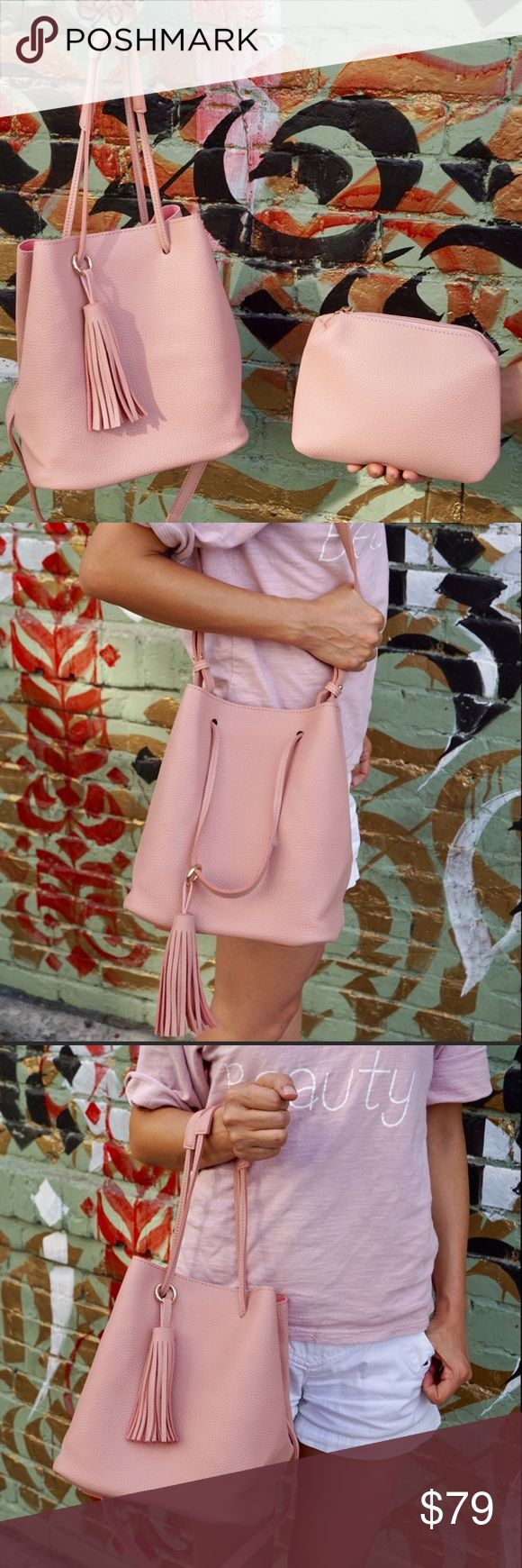 🎉Vegan Leather Blush Shoulder Bucket Bag See last picture for detailed description. Fabulous blush the new neutral color. Reasonable offers will be considered. Pink Haley Bags Shoulder Bags