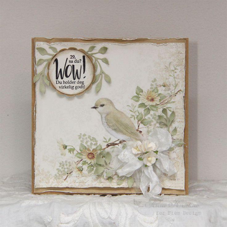 Etter en herlig helg hvor vi feiret vår yngste sønn's bryllup er det godt å sitte med papirene fra    Pion Design  og lage kort....det...