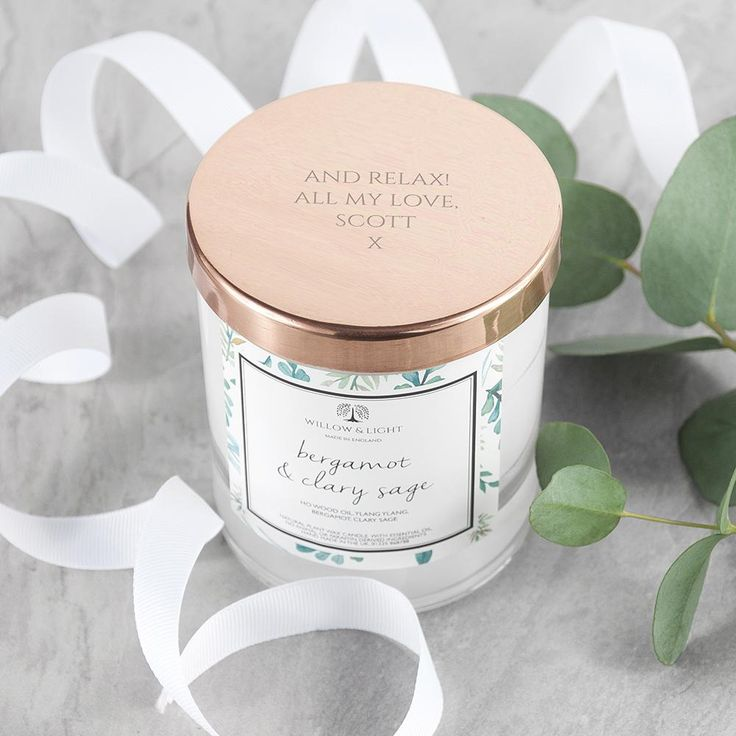 Bergamot & Clary Sage Scented Candle With Personalised Copper Lid https://harringtons-gift-store.co.uk/collections/mothers-day-gifts/products/bergamot-clary-sage-scented-candle-with-personalised-copper-lid