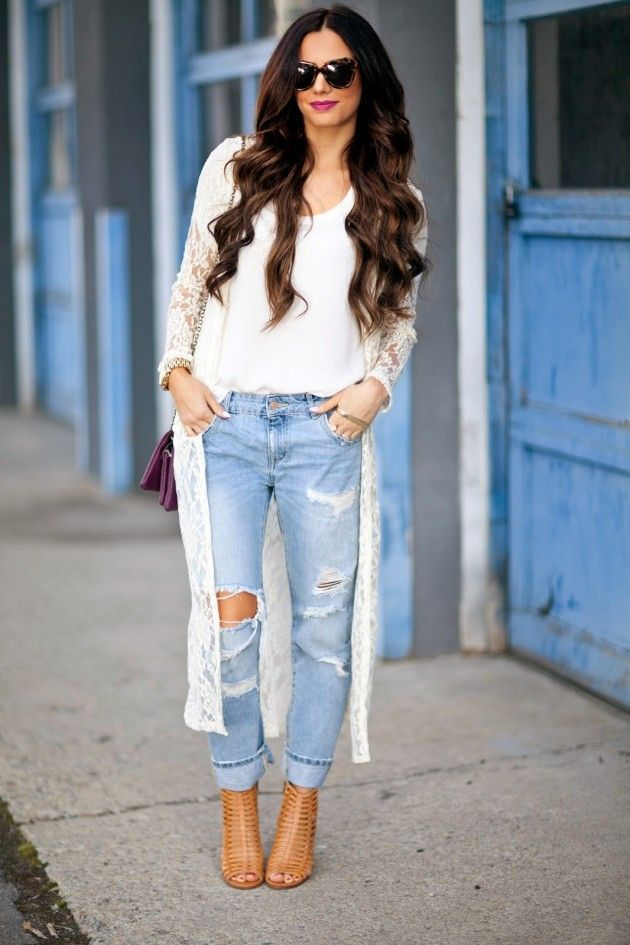 ripped boyfriend jeans + long lace cardigan