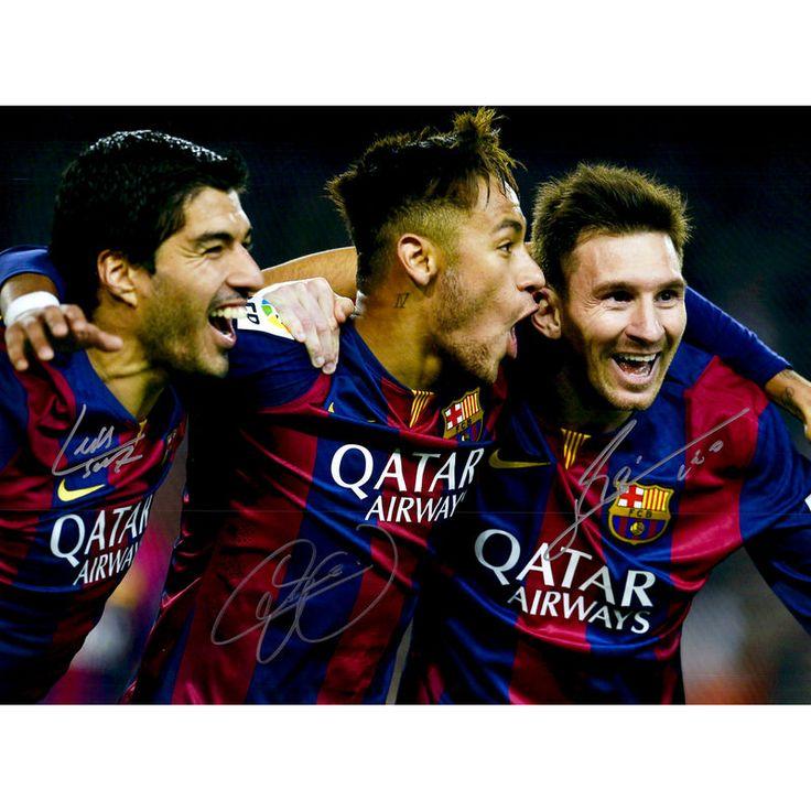 """Lionel Messi, Luis Suarez, Neymar FC Barcelona Fanatics Authentic Autographed 16"""" x 20"""" Photograph"""