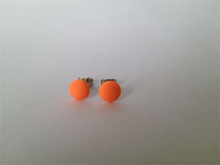 Mini Neon Orange Dome Polymer Surgical Steel Earrings | Fawkner St Designs | madeit.com.au
