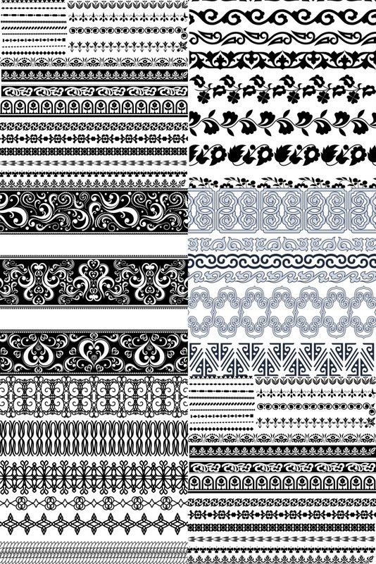 Ornate borders vector. Collection of 5 sets with vector ornate borders in decorative style for your designs. Contains vector borders with floral patterns. Format: EPS stock vector clip art. Free for download.