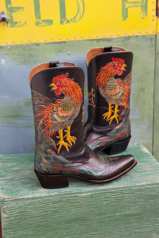 i don't like cowboy boots or have a thing for roosters but the workmanship- oh la la