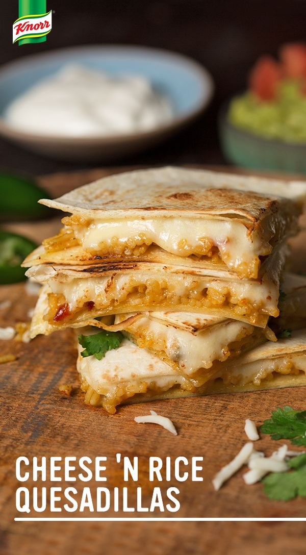 Try the best Knorr recipe for homemade Cheese 'N Rice Quesadillas! 1. Cook Knorr® Fiesta Sides™ - Mexican Rice until tender 2. Put tortillas on a baking sheet & top w/ rice mixture, cheese, & another tortilla 3. Broil until toasted, melted, & delicious.