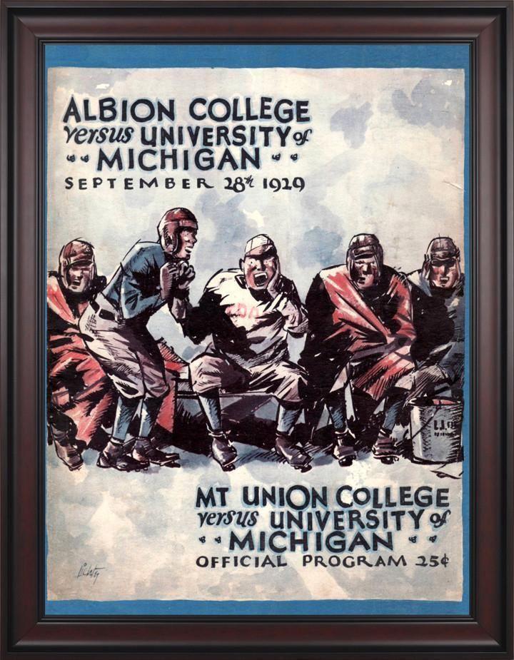 1929 Michigan Wolverines 30 x 40 Framed Canvas Historic Football Poster
