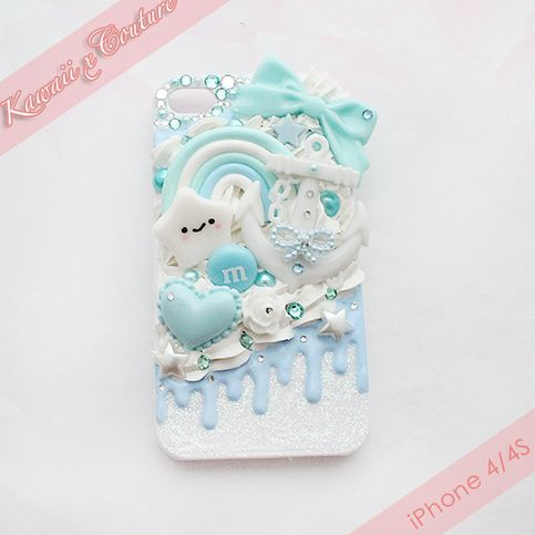 This listing is for a custom handmade iPhone 4/4S Decoden Case -- A white acrylic back-case drizzled with sweet blueberry frosting, topped with white whipped cream over a sparkly glitter gel base! This unique & one of a kind nautical-themed case is perfect for the summer season! ♡ Just snap on yo...