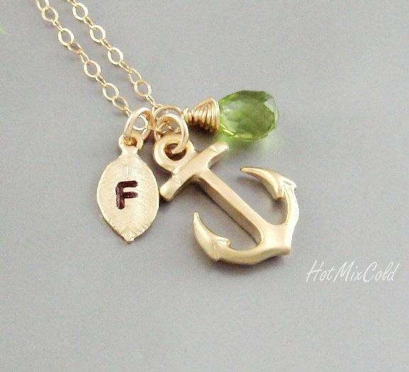 Monogram Anchor Necklace, Initial Birthstone charm Necklace, Monogram Leaf Jewelry, Nautical Wedding Theme, Anchor bridesmaid gifts. $33.00, via Etsy.