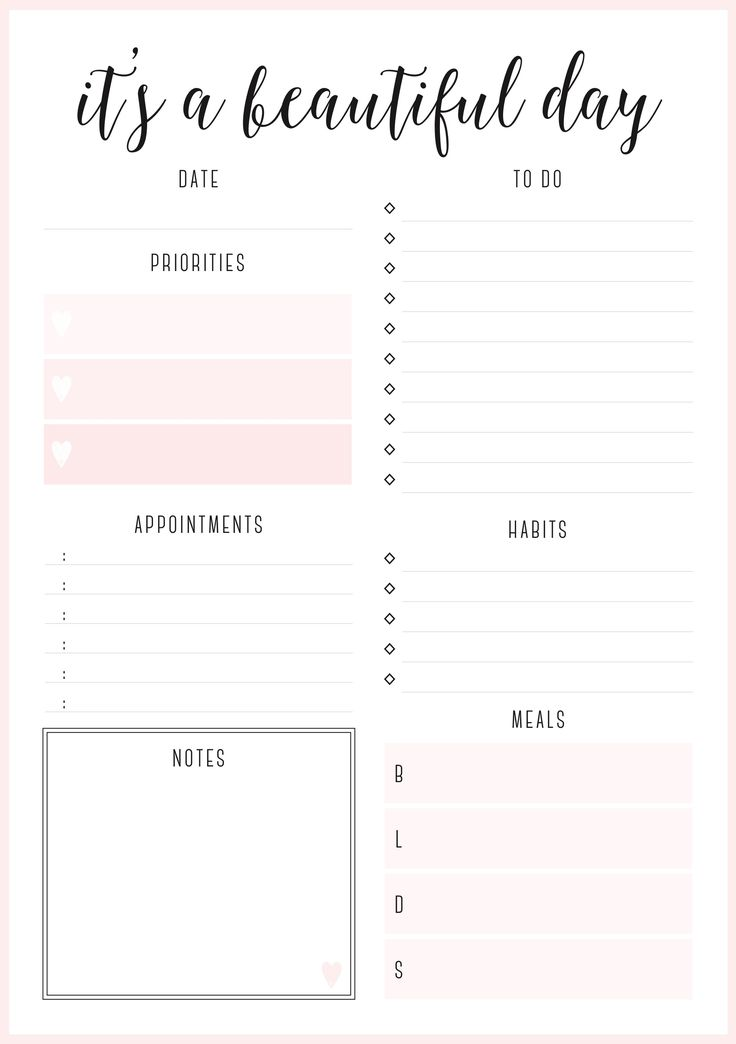 Beautiful daily planners - FREE printables