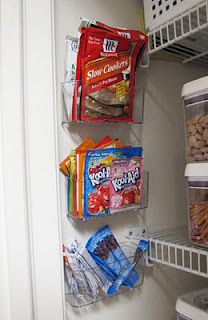 Smart way to keep track of all of those small packages of pantry items... they are just little sink caddies, held on to the wall by self-adhesive velcro dots! Smart!