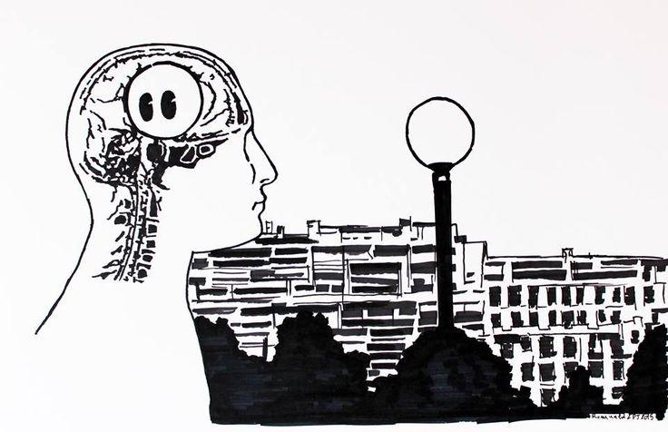 Romuald&Pj analyse graphiquement et scientifiquement mon impact cérébral sur le spectateur. (Perception d'un lampadaire - feutre sur papier - 40X60 - 2015)