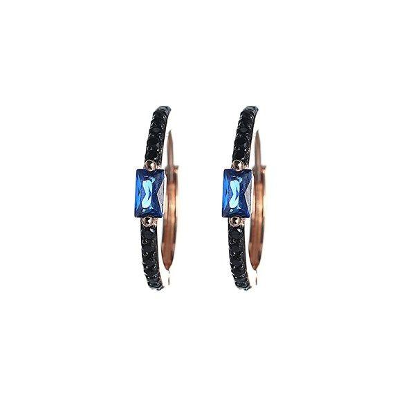 Zirkon Taşlı Mavi Gümüş Küpe(k1169)  <> Fiyat: 79 ₺