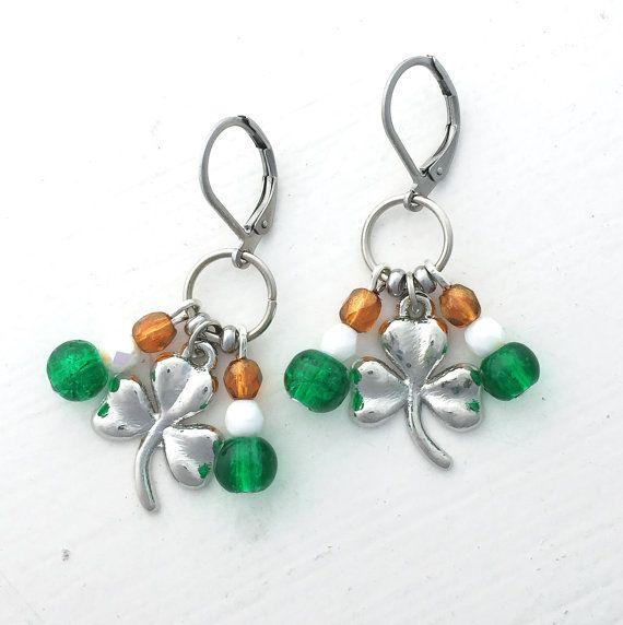 St Patrick's Day shamrock dangle earrings by ShereesTrinketBox