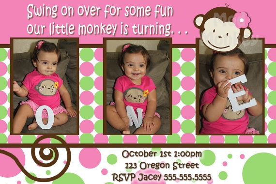 Monkey Invite Mod Monkey Invitation Photo - 1st Birthday Party Girl pictures invite - 1 year old (multiple options available). $17.99, via Etsy.