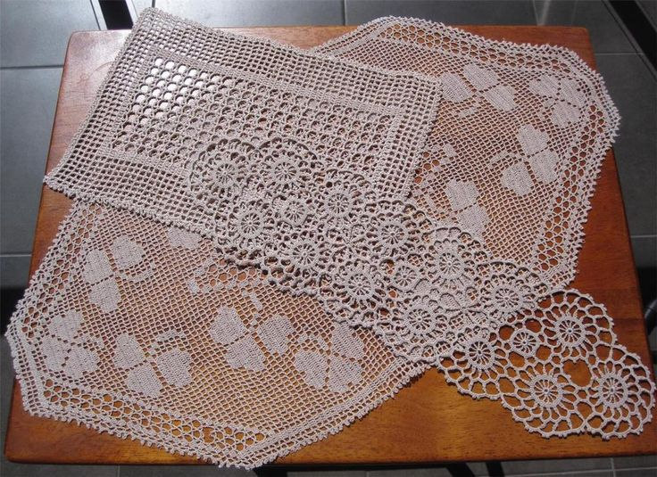 Three Vintage HandThree Vintage Hand Crochet/Filet Lace DOILIES 51cms x 28cms 38cms x 11cms 27cms x 19cms Cotton Thread used is in Taupe *Washed  *Starched  *Ironed   so comes to you ready to use.