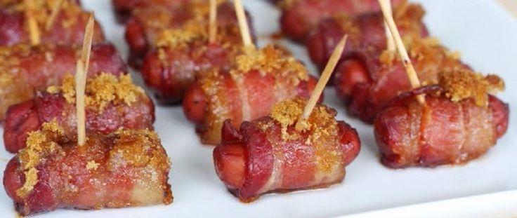Кулинарный Рай: Оригинальная закуска «Сосиски в беконе» (фото).