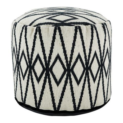 Round Pouf In White And Blue | Arhaus Furniture