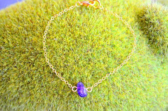 Amethyst Bracelet Dainty Gold Chain Bracelet by IndigoLizard