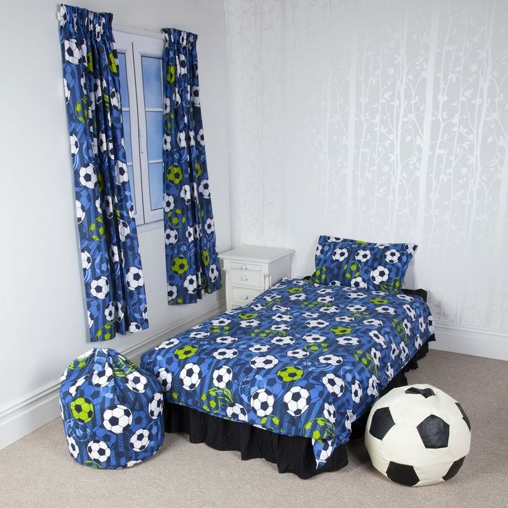 """Perfect for any Football fan A knitted print with fun accessories Pick from a single set and matching accessories Please select from the following options. Bedlinen: 65% 35% Cotton Single duvet cover: 135cm x 200cm, 1 pillow case 50cm x 75cm. Pencil Pleat Curtains 66""""x54"""" (168x137cm) Pencil Pleat Curtains 66""""x72 (168x183cm) Football Cotton Bean Size 50cm x 65cm Faux Leather Football Black & Cream 50x50x50cm Large, 70x70x70cm X Large."""