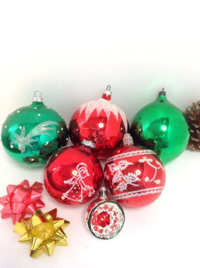 Vintage Christmas Decorations Glass Baubles Hand Painted