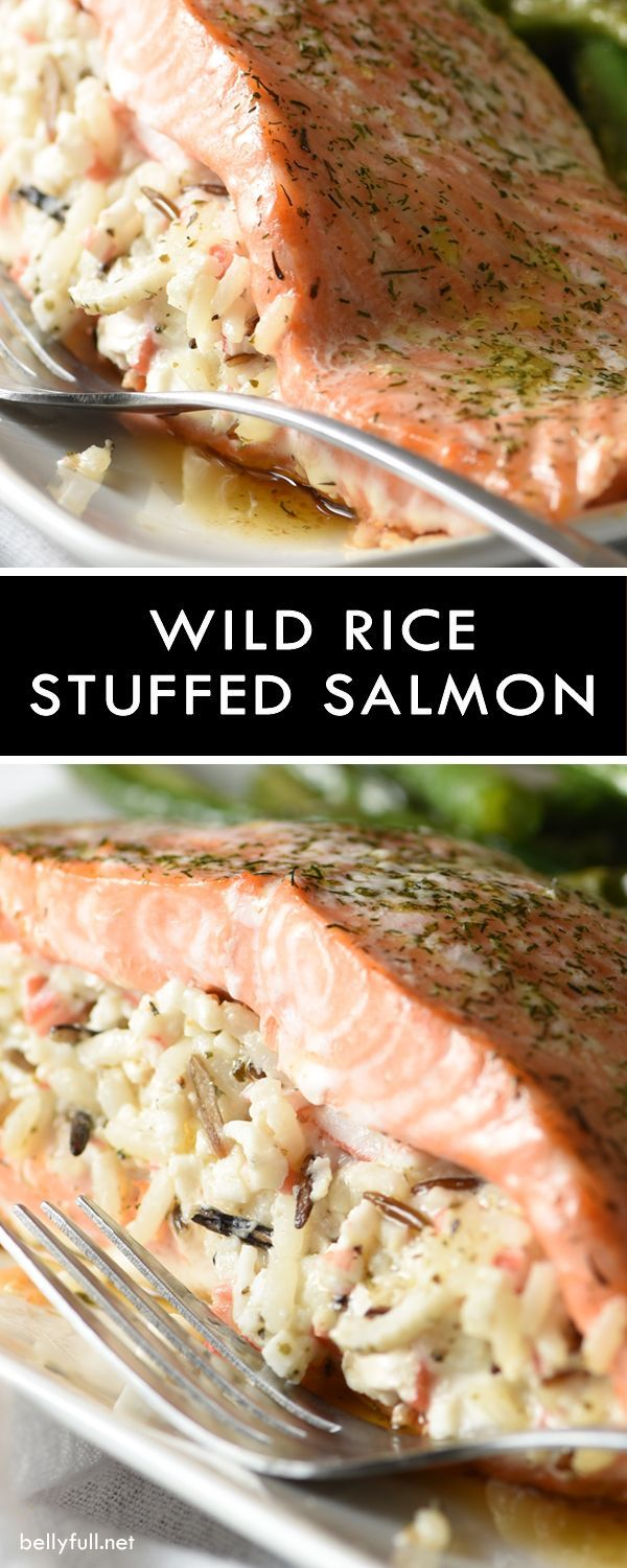 Beautiful fresh salmon fillets are stuffed with a creamy wild rice herb and crab mixture. Easy enough for a weeknight meal and elegant enough for a small dinner party!