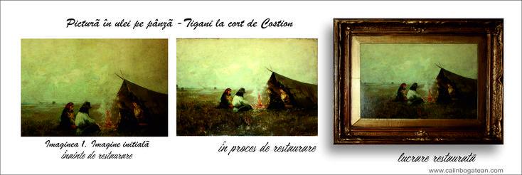 Țigani în șatră CONSTANTIN IONESCU COSTION restaurare pictură în ulei pe pânză restaurare tablou restaurare lucrare de artă