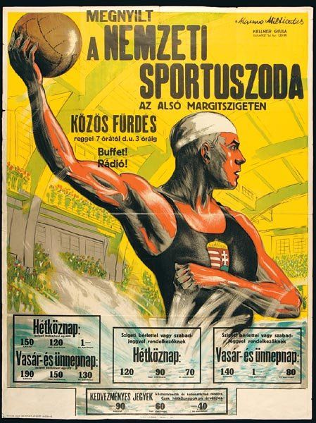Manno Miltiades (1880-1935): Megnyílt a Nemzeti Sportuszoda, plakát, 126 x 95 cm, 1931.