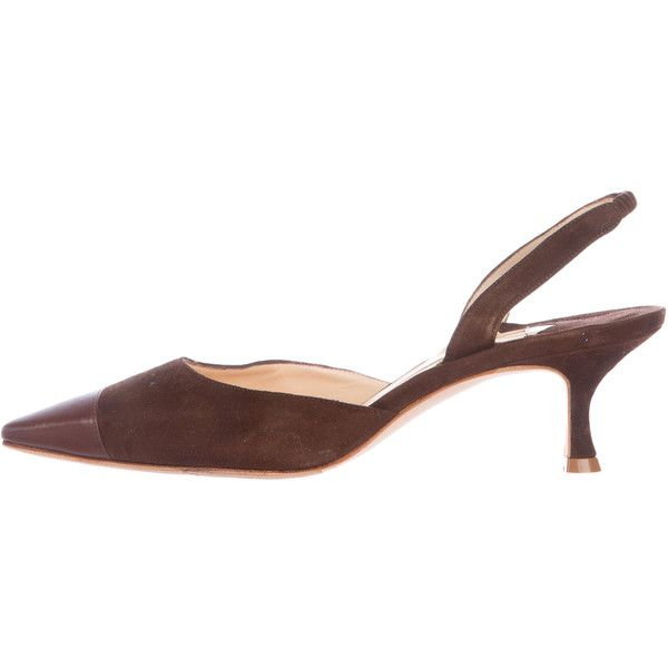 Pre-owned Manolo Blahnik Cap-Toe Slingback Pumps (€180) ❤ liked