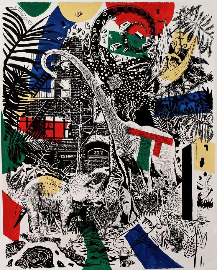 September 2015: Joseph Beuys ist zurück in New York, vor William S. Burroughs' Domizil, Bowery 222 / September 2015: Joseph Beuys is back in New York, in front of William S. Burroughs' domicile, Bowery 222.  Neal Fox, Prehistoric Future 2015, Tusche auf Papier Ink on paper, 152,5 x 122 cm