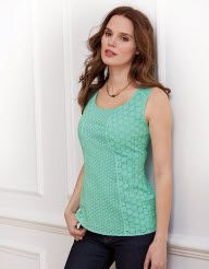 Broderie Panel Top in Mint by Pepperberry Tops