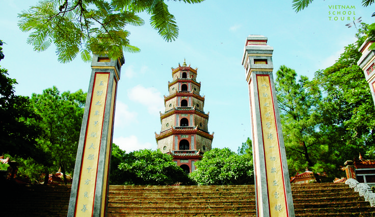 The entrance of Thien Mu Pagoda in Hue