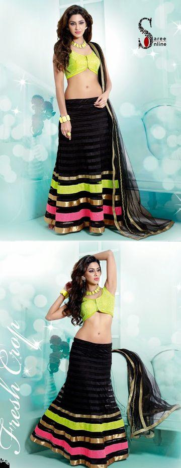 $109.00 #Lime green sexy blouse with black net designer lehenga. Flashy Friday nights   http://www.sareeonline.com/proj/gallery/fullview.aspx?scode=rhl315