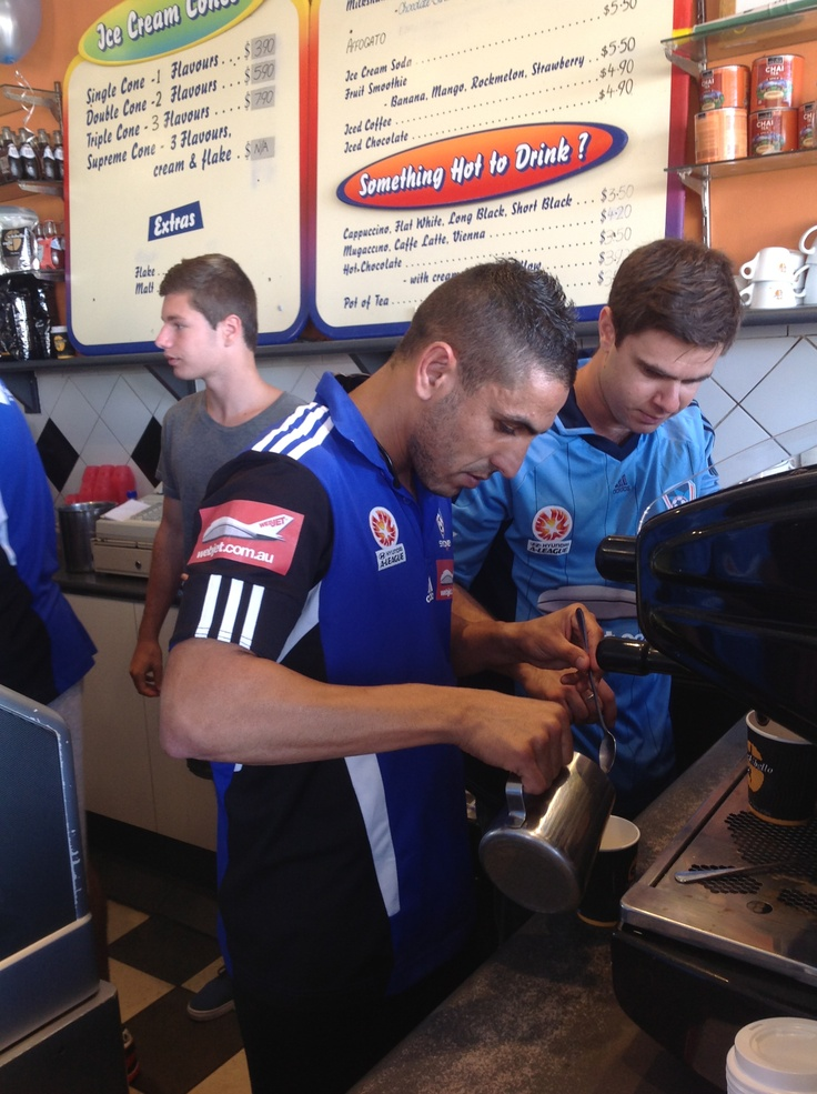 Ali Abbas, A-league star making his fans coffee!!    www.schibellocaffe.com