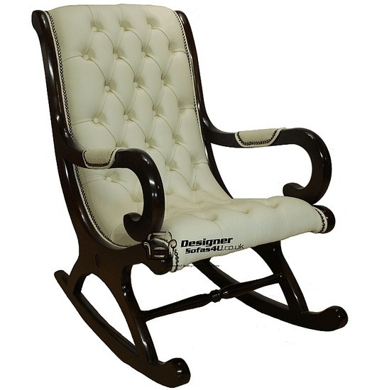 Wow! Gorgeous Chesterfield York Slipper Rocking Chair Cream Leather, Leather Sofas, Traditional Sofas