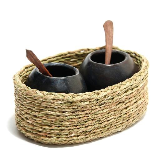Super Cute Clay Pot Spice Set from Swaziland. Perfect for salt & pepper!