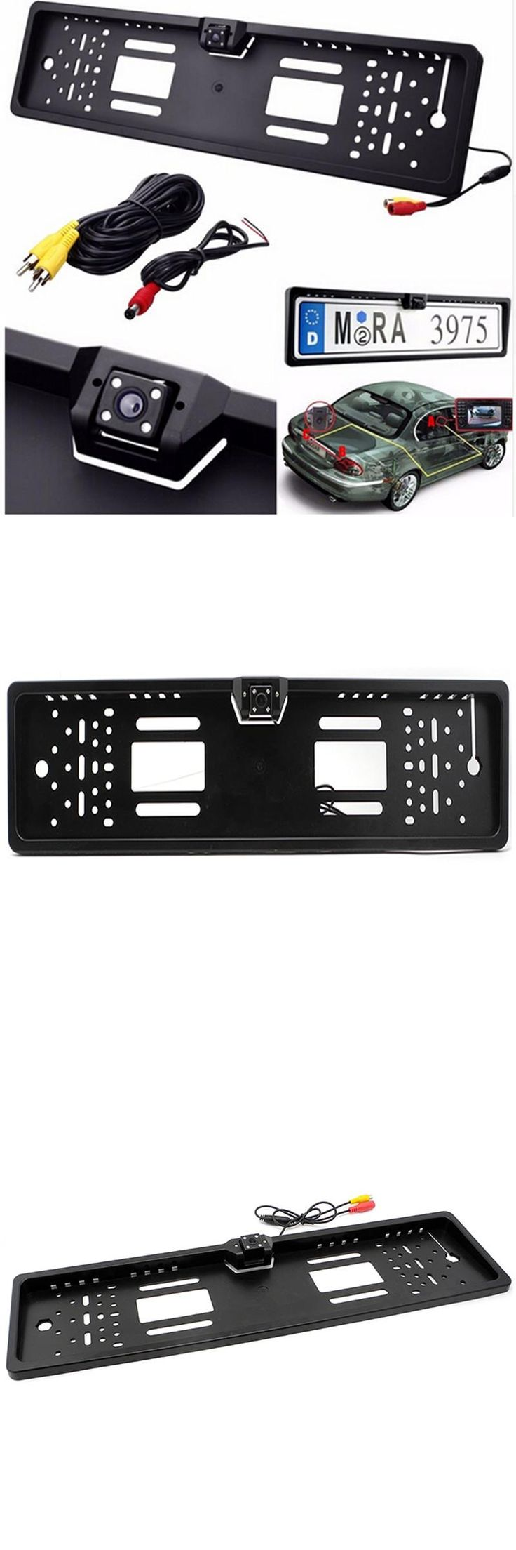 [Visit to Buy] New Europe license plate frame 170 European Universla Car License Plate Frame Auto Reverse Rear View Backup Camera 4 LED #Advertisement