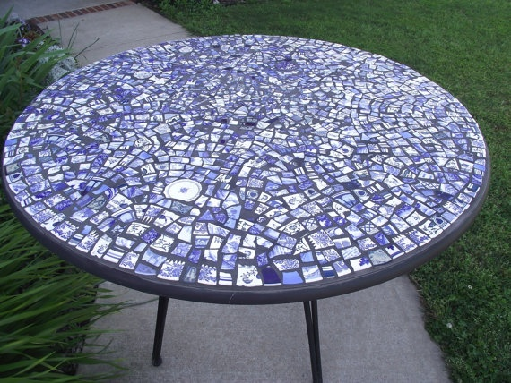 Mosaic Coffee Table   Blue Broken China   RESERVED