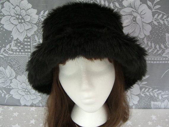 e6a2b34c719 Black Faux Fur Hat Women s Faux Fur Hat Fur Bucket Hat by HotHats ...
