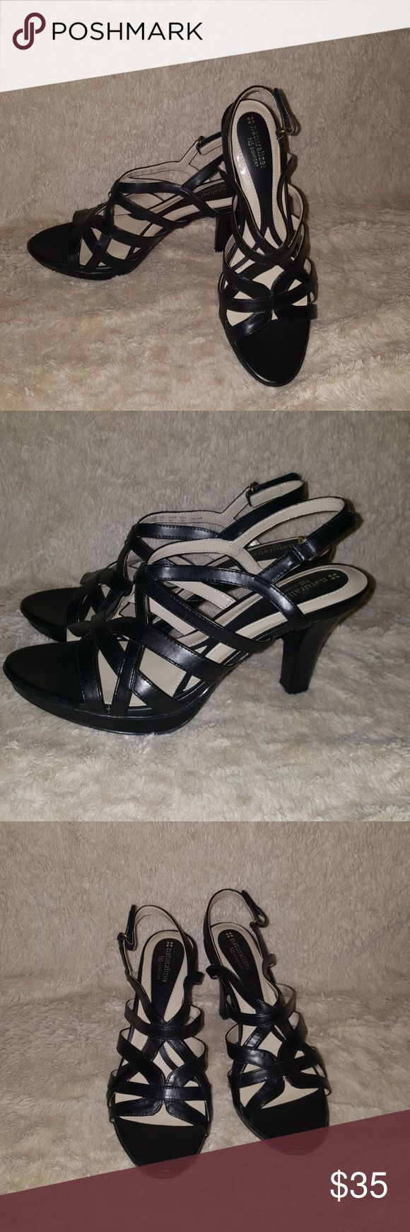 """NEW Womens Naturalizer Black Heels Sandals size 11 Naturalizer N5 comfort- black strappy heels size 11. Shoes are brand new without box. Approximate 3.25"""" heel. Smoke and pet free home. Will ship within two business days. Naturalizer Shoes Heels"""