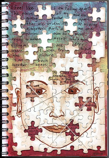 use puzzle pieces on art journal
