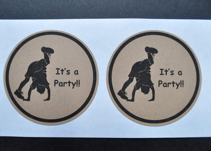 Gymnastic Cartwheeling Boy Party Silhouette 9 Stickers Handmade Natural Brown. $4.25, via Etsy.