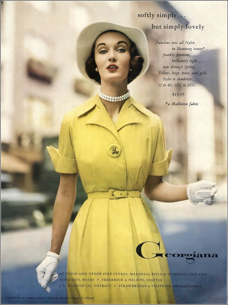 Evelyn Tripp in yellow nylon shantung dress by Georgiana, Vogue, December 1951