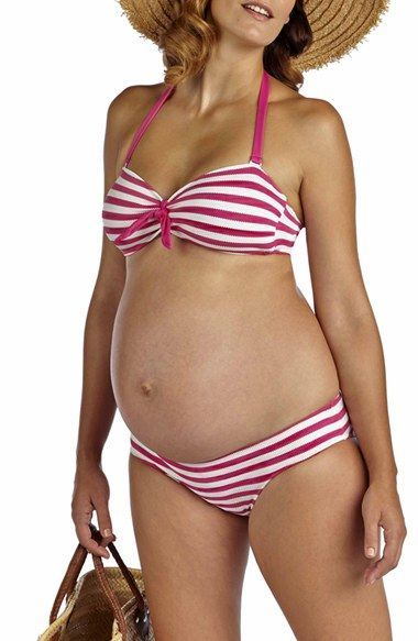 Free shipping and returns on Pez D'Or 'Rimini' Textured Stripe Maternity Bikini at Nordstrom.com. Scalloped stripes add nautical appeal to a bow-cinched bikini top and coordinating low-cut bottoms designed to accommodate your blossoming figure.