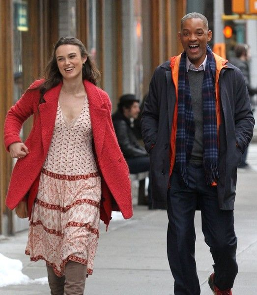 Keira Knightley and Will Smith perform on the set of 'Collateral Beauty.'