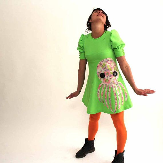 applique octopus dress - vintage 1960s lime green babydoll dress with pink floral octopus - upcycled vintage clothing