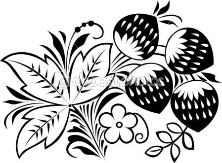 "Vector. Russian traditional ornament ""Hohloma"". Strawberry"