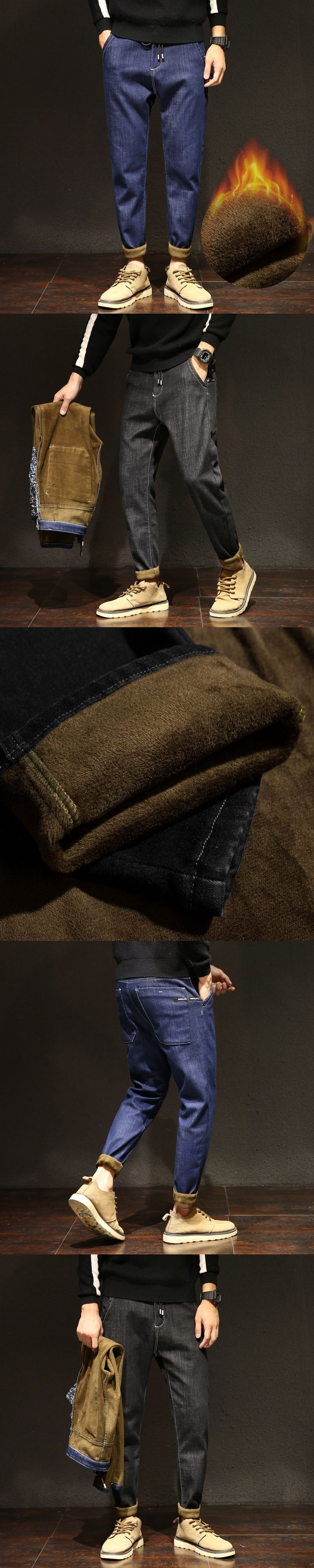 thicken flannel jeans harem men's stretch fleece jeans male black jeans for men winter warm