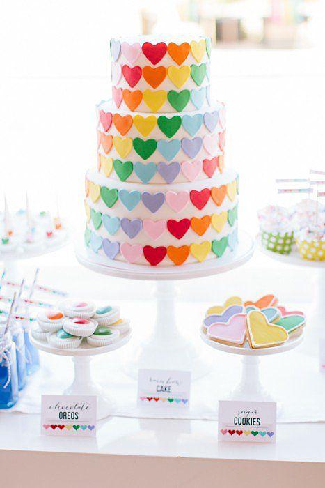 Cute Cake | A Sweet Rainbow-Heart Birthday Party | POPSUGAR Moms