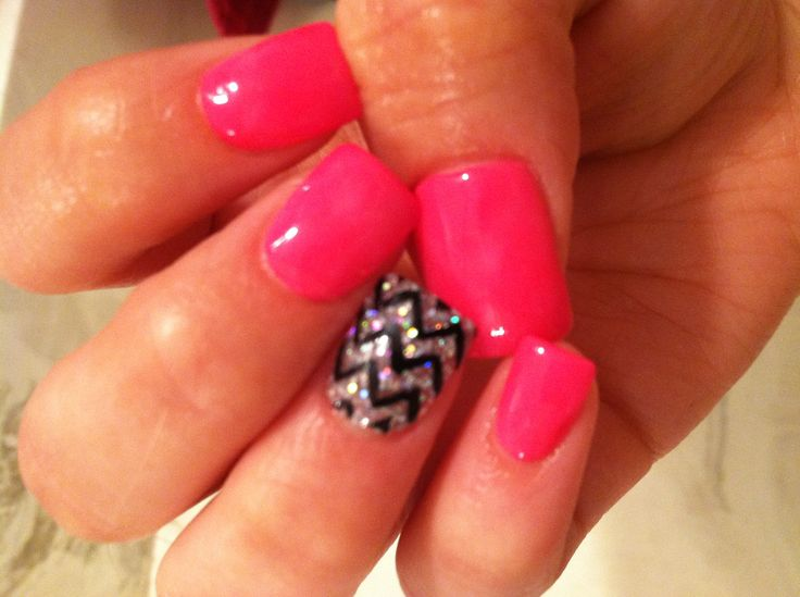 Neon Pink,& Sparkles with Chevron Acrylic  Nails!